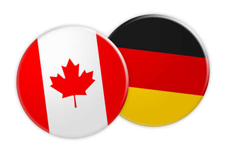 News Concept: Canada Flag Button On Germany Flag Button, 3d illustration on white background