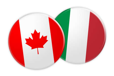 News Concept: Canada Flag Button On Italy Flag Button, 3d illustration on white background Stock Photo