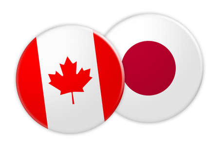 News Concept: Canada Flag Button On Japan Flag Button, 3d illustration on white background Stock Photo