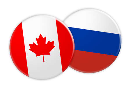 News Concept: Canada Flag Button On Russia Flag Button, 3d illustration on white background
