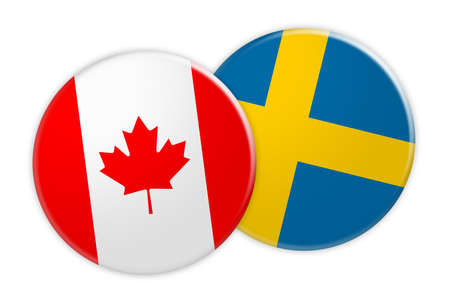 News Concept: Canada Flag Button On Sweden Flag Button, 3d illustration on white background