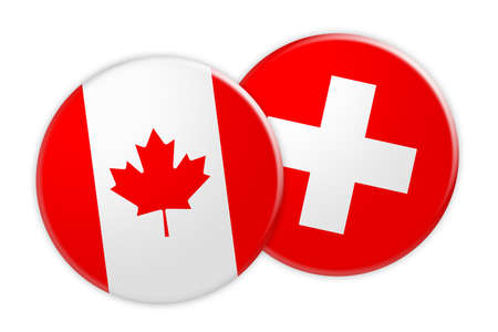 News Concept: Canada Flag Button On Switzerland Flag Button, 3d illustration on white background