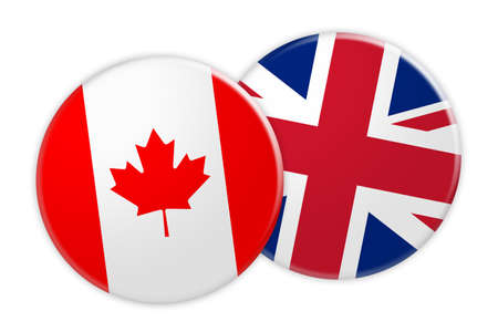 News Concept: Canada Flag Button On UK Flag Button, 3d illustration on white background Stock Photo