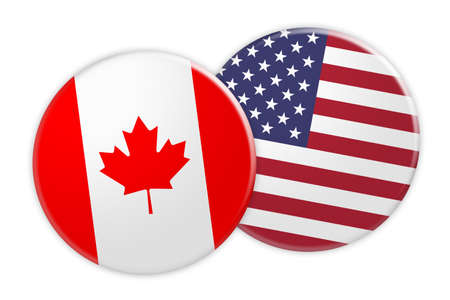 News Concept: Canada Flag Button On USA Flag Button, 3d illustration on white background