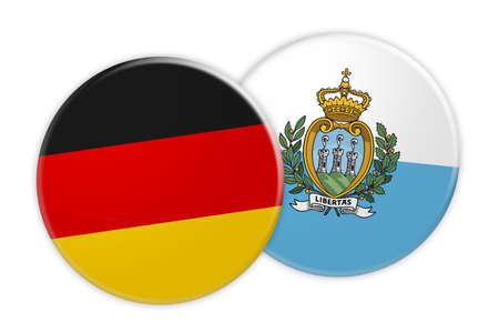 News Concept: Germany Flag Button On San Marino Flag Button, 3d illustration on white background