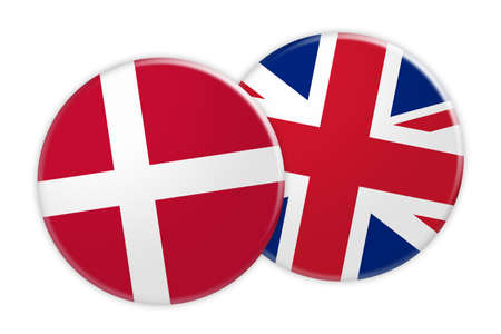 foreign national: News Concept: Denmark Flag Button On UK Flag Button, 3d illustration on white background
