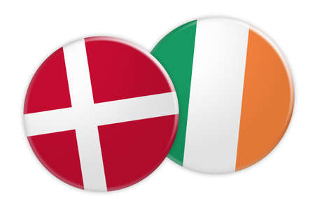 foreign national: News Concept: Denmark Flag Button On Ireland Flag Button, 3d illustration on white background Stock Photo