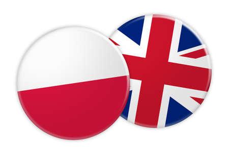 News Concept: Poland Flag Button On UK Flag Button, 3d illustration on white background Stock Photo