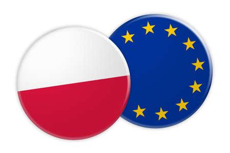 News Concept: Poland Flag Button On EU Flag Button, 3d illustration on white background