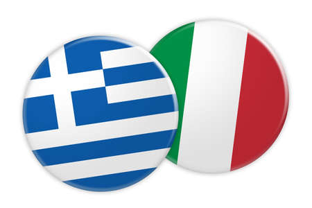 foreign national: News Concept: Greece Flag Button On Italy Flag Button, 3d illustration on white background