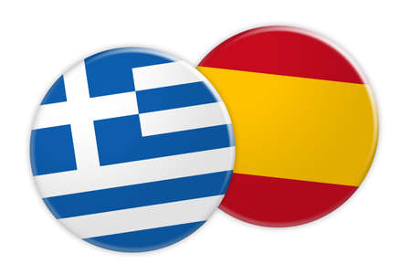 News Concept: Greece Flag Button On Spain Flag Button, 3d illustration on white background