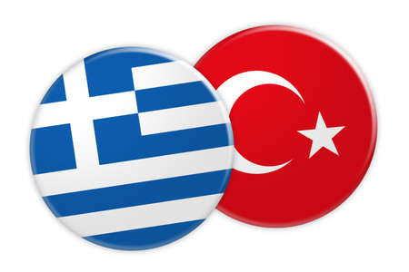 News Concept: Greece Flag Button On Turkey Flag Button, 3d illustration on white background
