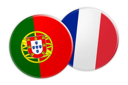 News Concept: Portugal Flag Button On France Flag Button, 3d illustration on white background