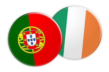 treaty: News Concept: Portugal Flag Button On Ireland Flag Button, 3d illustration on white background