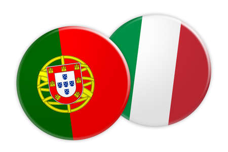 News Concept: Portugal Flag Button On Italy Flag Button, 3d illustration on white background Stock Photo