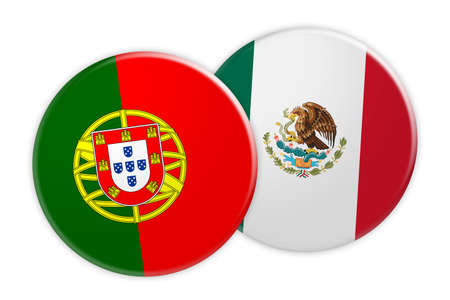 News Concept: Portugal Flag Button On Mexico Flag Button, 3d illustration on white background