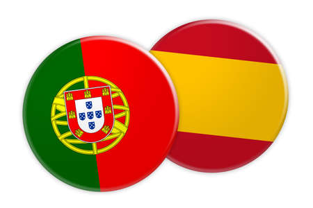 News Concept: Portugal Flag Button On Spain Flag Button, 3d illustration on white background