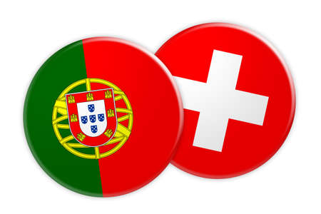 News Concept: Portugal Flag Button On Switzerland Flag Button, 3d illustration on white background