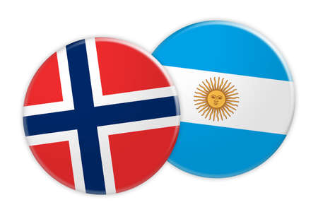News Concept: Norway Flag Button On Argentina Flag Button, 3d illustration on white background Stock Photo