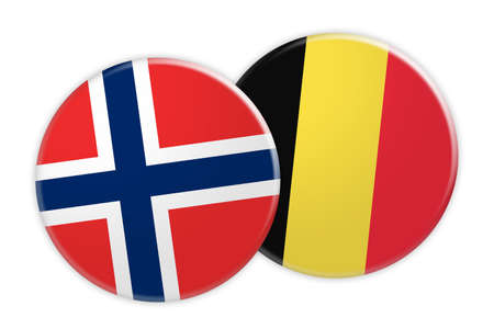 News Concept: Norway Flag Button On Belgium Flag Button, 3d illustration on white background