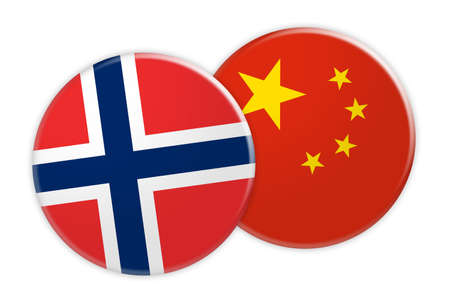 News Concept: Norway Flag Button On China Flag Button, 3d illustration on white background