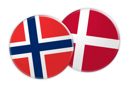 News Concept: Norway Flag Button On Denmark Flag Button, 3d illustration on white background Stock Photo