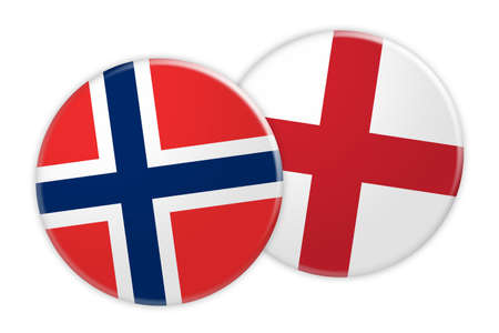 treaty: News Concept: Norway Flag Button On England Flag Button, 3d illustration on white background