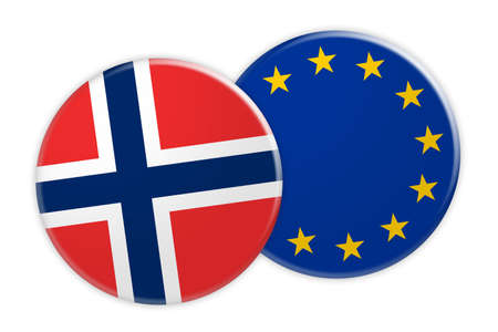 News Concept: Norway Flag Button On EU Flag Button, 3d illustration on white background Stock Photo