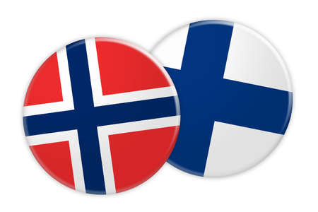 foreign national: News Concept: Norway Flag Button On Finland Flag Button, 3d illustration on white background