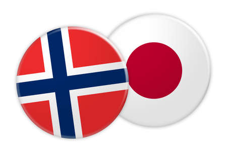 News Concept: Norway Flag Button On Japan Flag Button, 3d illustration on white background Stock Photo