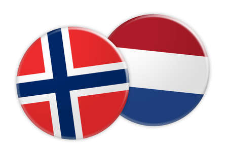 News Concept: Norway Flag Button On Netherlands Flag Button, 3d illustration on white background