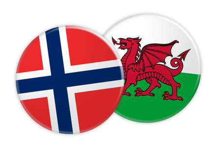 News Concept: Norway Flag Button On Wales Flag Button, 3d illustration on white background Stock Photo