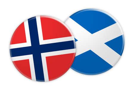 News Concept: Norway Flag Button On Scotland Flag Button, 3d illustration on white background Stock Photo