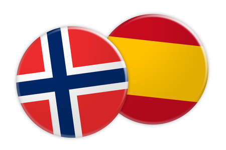 News Concept: Norway Flag Button On Spain Flag Button, 3d illustration on white background