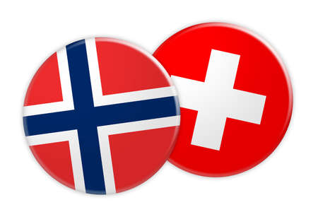 News Concept: Norway Flag Button On Switzerland Flag Button, 3d illustration on white background Stock Photo