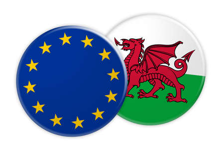 News Concept: EU Flag Button On Wales Flag Button, 3d illustration on white background