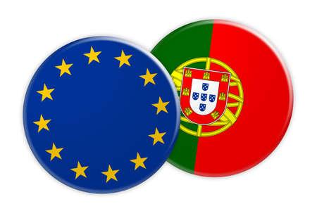 News Concept: EU Flag Button On Portugal Flag Button, 3d illustration on white background
