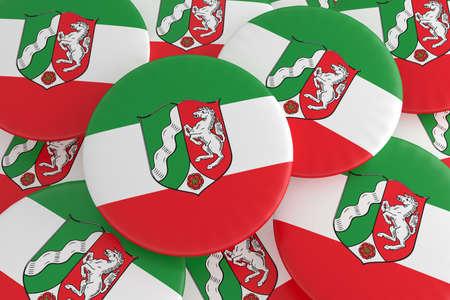 German States Badges: Pile of North Rhine-Westphalia Flag Buttons, 3d illustration
