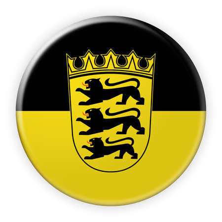 Germany Federal State Button: Baden-Wuerttemberg Flag Badge, 3d illustration on white background