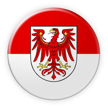 local elections: Germany Federal State Button: Brandenburg Flag Badge, 3d illustration on white background Stock Photo