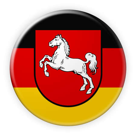 federal election: Germany Federal State Button: Lower Saxony Flag Badge, 3d illustration on white background