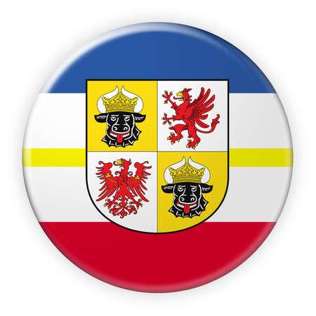 Germany Federal State Button: Mecklenburg-Vorpommern Flag Badge, 3d illustration on white background
