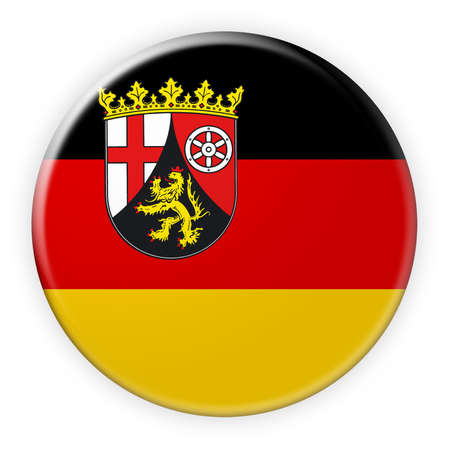 local elections: Germany Federal State Button: Rhineland-Palatinate Flag Badge, 3d illustration on white background