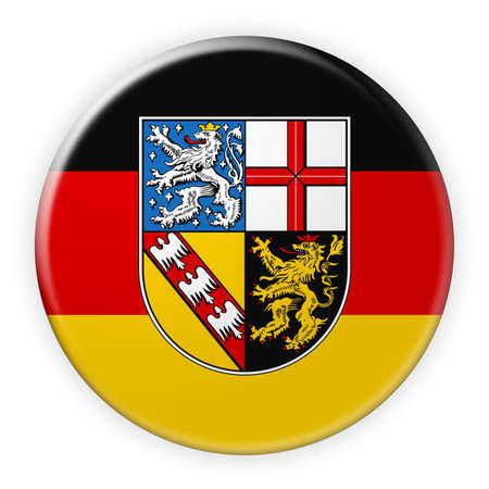local elections: Germany Federal State Button: Saarland Flag Badge, 3d illustration on white background