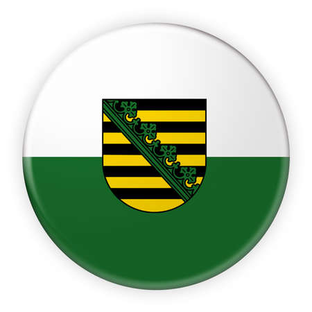 federal election: Germany Federal State Button: Saxony Flag Badge, 3d illustration on white background Stock Photo