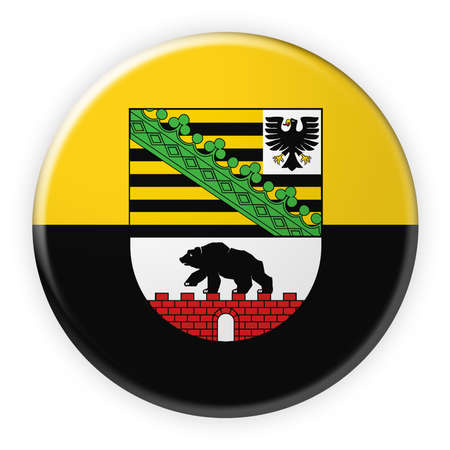 federal election: Germany Federal State Button: Saxony-Anhalt Flag Badge, 3d illustration on white background