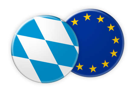 federal election: Germany News Concept: Bavaria Flag Button On EU Flag Button, 3d illustration on white background