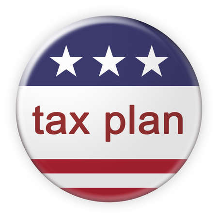 USA Politics News Badge: Tax Plan Button With US Flag, 3d illustration Stock Photo