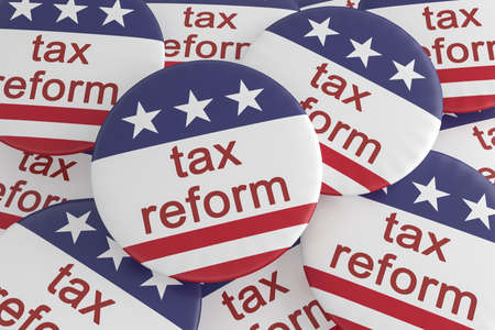 USA Politics News Badge: Pile of Tax Reform Buttons With US Flag, 3d illustration Stock Photo