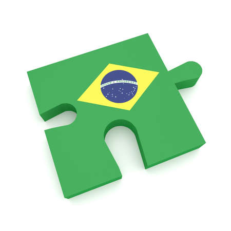 Puzzle Piece With Brazil Flag, 3d illustration on white background Stock Photo